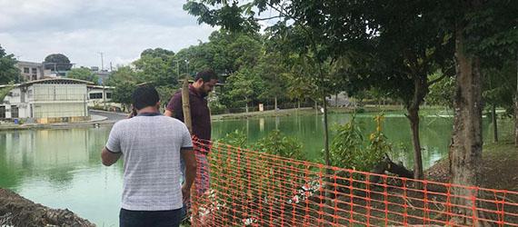 Trecho da pista de caminhada do Parque Lagoa Senador Arthur Virgílio Filho é interditada para reparos